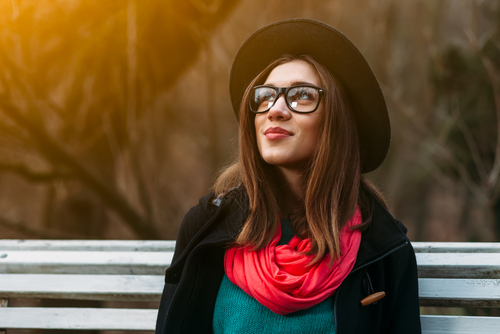 Young Woman with Glasses Considering LASIK