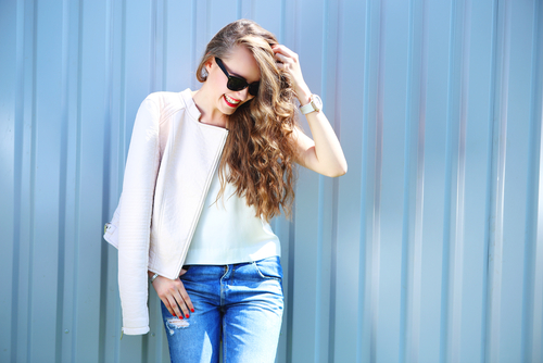 Stylish Young Woman Wearing Sunglasses