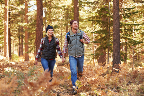 Couple Hiking Through Forest in Fall